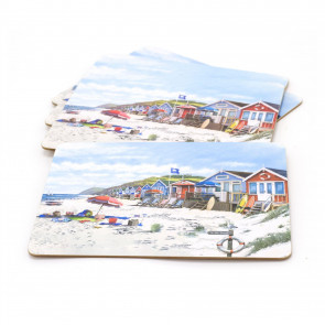 Set Of 4 Sandy Bay Beach Table Placemats | Coastal Nautical Dining Table Mats | Seaside Plate Mat Settings