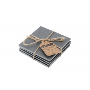 Stunning Set Of Four Slate Square Drinks Coasters