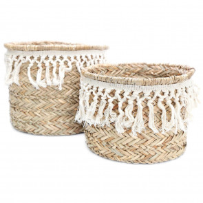 Stunning Set of 2 Woven Grass Baskets With Tassels ~ Home Storage Baskets