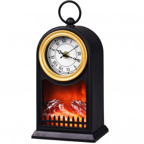LED Fireplace Lantern Mantle Clock | Battery Operated Lamp | Decorative Lights Hanging Ornaments