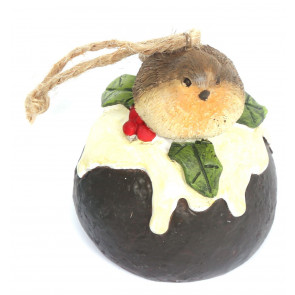 Hanging Robin Christmas Tree Decoration - Christmas Pudding