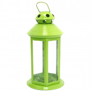 Colourful Neon Festival Party Garden Metal Tealight Lantern 25cm - Large Votive Tea Light Candle Holder ~ Green