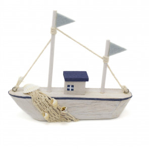 Shabby Chic Nautical Wooden Boat Ornament | Model Sailing Fishing Boat Decoration | Sail Boat Beach Decor - Colour Varies One Supplied