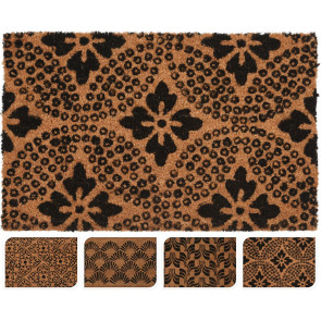 Rubber Design Coconut Fibre Coir Front Door Welcome Entrance Mat Natural Doormat 40x60cm ~ Design Varies