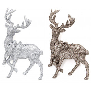 Silver Glitter Reindeer Hanging Christmas Tree Decoration ~ Colour Varies
