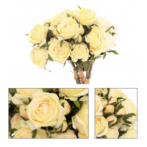 Beautiful 3 Head Rose Spray Artificial Flower Bouquet Bunch Bridal Roses ~ Light Yellow