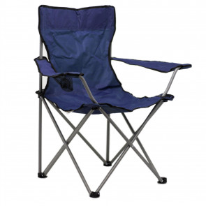 Deluxe Portable Folding Camping Chair | Outdoor Fold Out Lightweight Camp Chairs | Picnic Chairs Folding Armrest Cup Holder - Blue