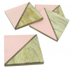 Elegant Set of 4 Double Tone Wooden Coasters For Drinks Cup Mug Table Mats ~ Pink