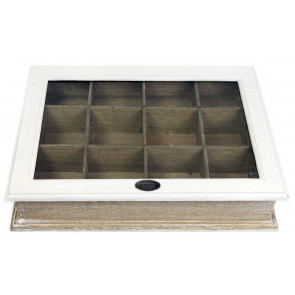 Shabby Chic White Wooden Two Tone 12 Section Compartment Storage Box With Lid