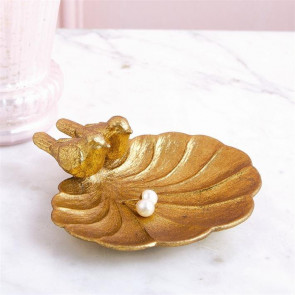 Antique Gold Love Birds Jewellery Holder Trinket Tray Decoration