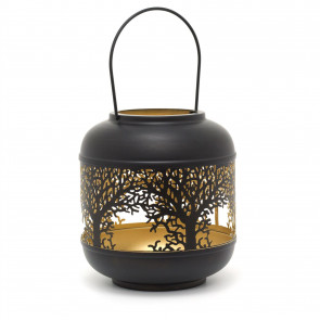 22cm Black Metal Tree Of Life Cut Out Hurricane Candle Lantern | Decorative Candle Holders For Home Garden Patio - Small