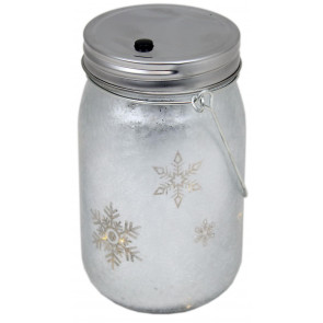 Frosted Glass Light Up Snowflake LED Mason Jar Christmas Lantern With Handle ~ Silver