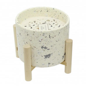 Terrazzo Candle Display Holder Pot Ornament With Beautiful White Wax Candle And Stand ~ White - Small