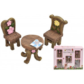 Fairyland Magical Woodland Garden Fairy Elf Furniture Tea Time Faires Set 5pcs