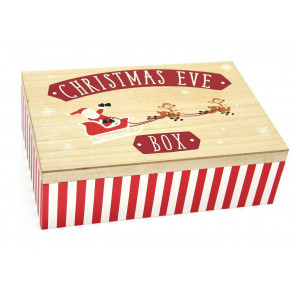 Large Wooden Christmas Eve Present Treat Keepsake Box Santa Kit