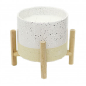 Ceramic Holder With Scented Candle And Stand | Natural Interior Candle And Pot | Decorative Candles - Fragrance Varies One Supplied