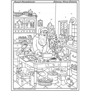 Father Christmas Advent Colouring Calendar ~ Xmas Santa Calendar With Envelope