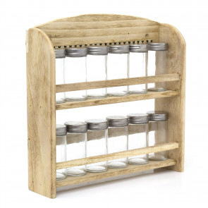 Wooden Wall Mounted Kitchen Herb Spice Rack | 12 Screw Top Glass Jar | Shabby Chic Kitchen Organiser