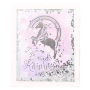White Wooden Silver Star Confetti Unicorn Quote Decorative Frame Plaque ~ Life Is All Rainbows And Unicorns