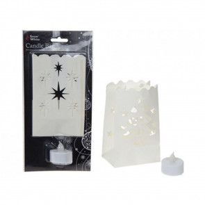 Snow White Paper Candle Bag LED Tealight Lantern Holder ~ Design Vary