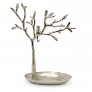 31cm Silver Metal Tree Of Life Jewellery Stand | Aluminium Tree Necklace Organiser | Ring Holder Cat Ornament