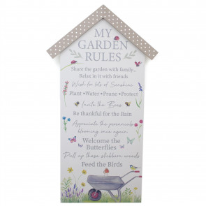 60cm Wooden House My Garden Rules Plaque Wall Art - Wall Mounted Novelty Gardeners Sign