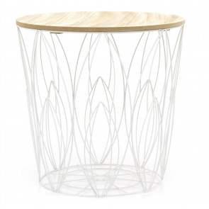 White Round Leaf Design Wooden Top Wire Occasional Side Table | Coffee Table With Storage | Living Room Side Tables | Wire End Table