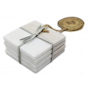 Set Of 4 Two Tone Natural Marble Coasters For Drinks ~ Square