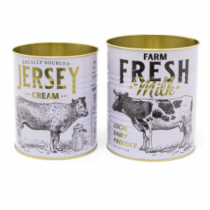 Set Of 2 Farm Fresh Retro Metal Storage Tins | General Store Decorative Display Can | White Vintage Metal Tin Cans