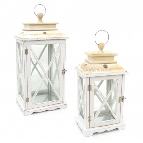 Set of 2 White Washed Wooden Lanterns | Distressed Wood Hurricane Lantern Candle Holders for Home Garden Patio