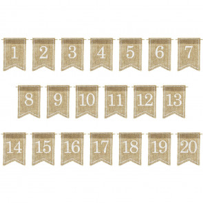 1-20 Jute Hessian Table Number Flags Banners | Vintage Wedding Table Numbers Tags | Rustic Wedding Decorations