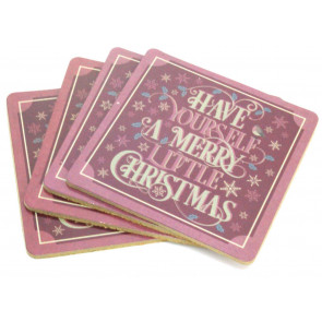 Set Of 4 Traditional Christmas Design Wipe Clean Table Coasters - Red
