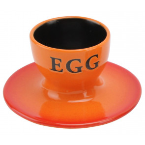 Ceramic Boiled Egg Breakfast Cup Holder - Orange
