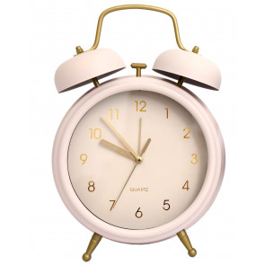 Large Retro Style Matt Metal Traditional Twin Bell Alarm Clock ~ Pink
