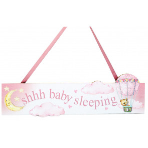 Baby Sleeping Hanging Decorative Wall Plaque Nursery Bedroom Door Sign - Pink