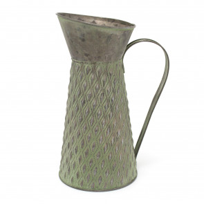 Potting Shed Green Metal Flower Jug Vase | 25x12.5cm Garden Metal Planter - Outdoor Indoor Vintage Plant Pots