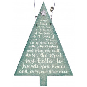 Hanging Frosty Glitter Christmas Tree Song Plaque Decoration ~ Have A Holly Jolly Christmas
