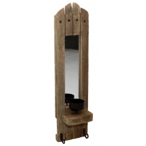 Rustic Wooden Wall Candle Holder With Mirror