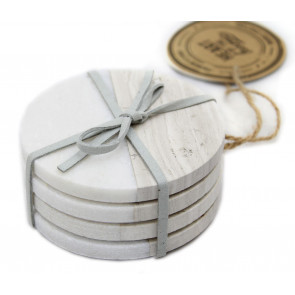 Set Of 4 Two Tone Natural Marble Coasters For Drinks ~ Round