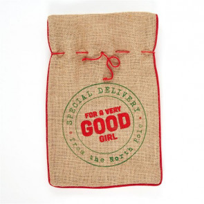 Jute Hessian Christmas Present Sack Gift Bag Small ~ Good Girl