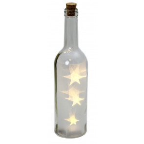 Glass Corked Wine Bottle Battery Operated Christmas LED Light Lighting Star Table Decoration ~ Clear