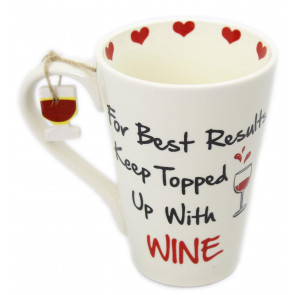 Wine Friends Ceramic Mug ~ For Best Results Keep Topped Up With Wine