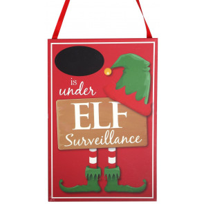 Hanging Wooden Elf Surveillance Plaque Christmas Sign - Red