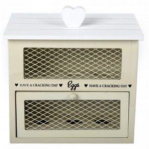 White And Cream Wooden Egg House Storage Drawer Unit For Half Dozen Eggs