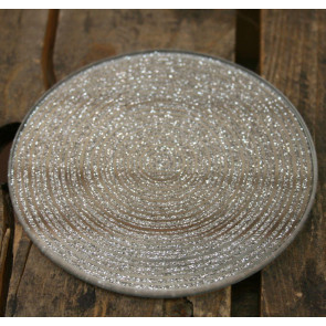 Metallic Silver Glitter Glass Candle Plate Holder Coaster