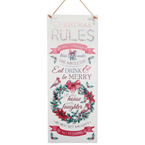 Hanging Holly Berry Wreath Metal Plaque Christmas Tin Sign - Christmas Rules