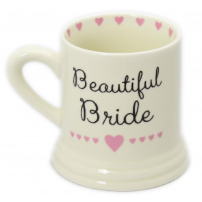 Boxed Ceramic Heart Wedding Favour Gift Mug ~ Beautiful Bride