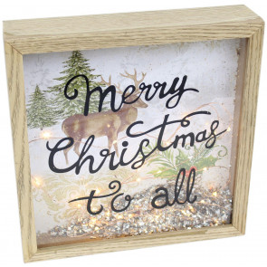 Glitter Foil Light Up LED Christmas Frame Plaque Reindeer Sign Decoration