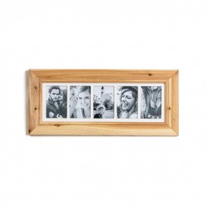 Deluxe 5 Aperture Solid Pine Wood Hanging Multi Photo Picture Frame ~ Natural Brushed Pine