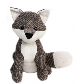 Textured Fabric Fox Doorstop ~ Brown British Wildlife Fox Door Stop